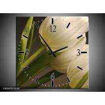 Wandklok op Canvas Tulpen | Kleur: Groen, Wit, Grijs | F000405C