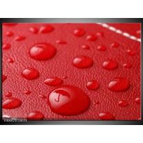Foto canvas schilderij Druppels | Rood, Wit