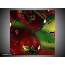 Wandklok op Canvas Druppels | Kleur: Bruin, Groen, Geel | F000422C