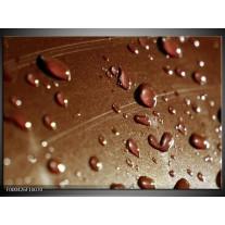 Foto canvas schilderij Druppels   Bruin, Wit