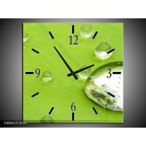 Wandklok op Canvas Druppels | Kleur: Groen, Wit, Grijs | F000427C