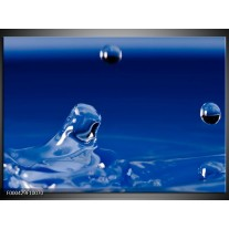 Foto canvas schilderij Druppels | Blauw, Wit, Zwart