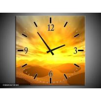 Wandklok op Canvas Zonsondergang | Kleur: Geel, Grijs, Goud | F000436C