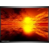 Foto canvas schilderij Zonsondergang | Rood, Geel, Zwart