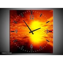 Wandklok op Canvas Zonsondergang | Kleur: Rood, Geel, Zwart | F000451C