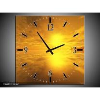 Wandklok op Canvas Zonsondergang | Kleur: Geel, Oranje, Grijs | F000452C