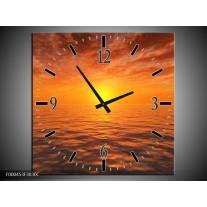 Wandklok op Canvas Zonsondergang | Kleur: Geel, Oranje, Grijs | F000453C