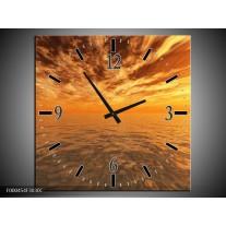 Wandklok op Canvas Zonsondergang | Kleur: Geel, Oranje, Grijs | F000454C
