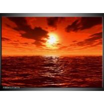 Foto canvas schilderij Zonsondergang | Geel, Oranje, Grijs