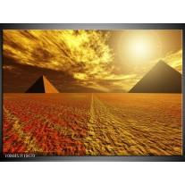 Foto canvas schilderij Piramide | Geel, Bruin, Wit