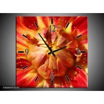Wandklok op Canvas Bloem   Kleur: Rood, Geel   F000469C