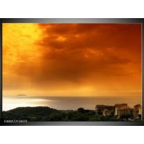 Foto canvas schilderij Zonsondergang | Oranje, Geel, Grijs