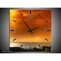 Wandklok op Canvas Zonsondergang | Kleur: Oranje, Geel, Grijs | F000472C