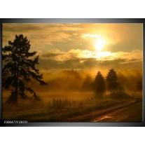 Foto canvas schilderij Zonsondergang | Geel, Zwart, Grijs