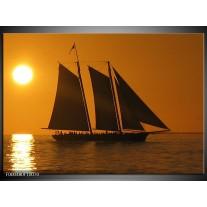 Foto canvas schilderij Boot   Geel, Bruin, Oranje