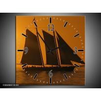 Wandklok op Canvas Boot   Kleur: Geel, Bruin, Oranje   F000480C