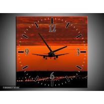 Wandklok op Canvas Vliegtuig | Kleur: Rood, Zwart, Grijs | F000481C