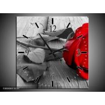 Wandklok op Canvas Roos | Kleur: Rood, Grijs | F000484C