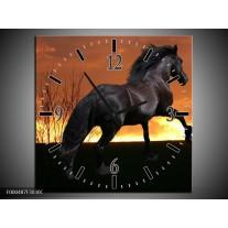 Wandklok op Canvas Paard   Kleur: Zwart, Geel, Bruin   F000487C