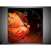 Wandklok op Canvas Roos | Kleur: Oranje, Zwart, Groen | F000488C