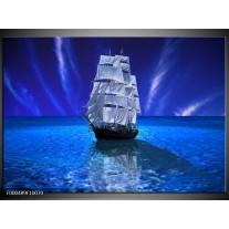 Foto canvas schilderij Zeilboot | Blauw, Wit, Zwart