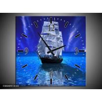 Wandklok op Canvas Zeilboot | Kleur: Blauw, Wit, Zwart | F000489C