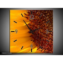 Wandklok op Canvas Bloem | Kleur: Geel, Bruin, Zwart | F000491C