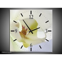 Wandklok op Canvas Orchidee | Kleur: Wit, Geel, Groen | F000503C