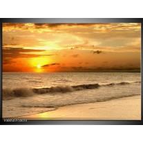 Foto canvas schilderij Zee | Geel, Grijs, Oranje