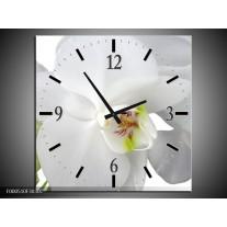 Wandklok op Canvas Orchidee | Kleur: Wit, Groen | F000510C