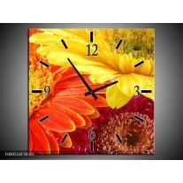 Wandklok op Canvas Bloem | Kleur: Geel, Oranje, Rood | F000514C