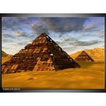 Foto canvas schilderij Piramide | Geel, Zwart, Blauw
