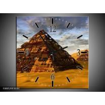 Wandklok op Canvas Piramide | Kleur: Geel, Zwart, Blauw | F000529C