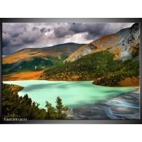Foto canvas schilderij Bergen | Groen, Geel, Grijs