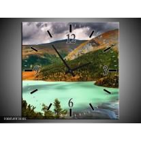 Wandklok op Canvas Bergen | Kleur: Groen, Geel, Grijs | F000549C