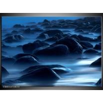Foto canvas schilderij Stenen   Zwart, Blauw, Grijs