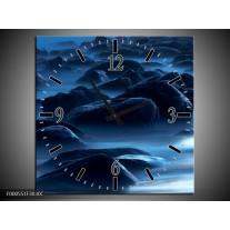 Wandklok op Canvas Stenen   Kleur: Zwart, Blauw, Grijs   F000551C