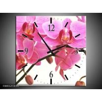 Wandklok op Canvas Orchidee   Kleur: Rood, Wit, Zwart   F000552C