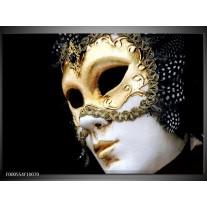 Foto canvas schilderij Masker | Wit, Goud, Zwart