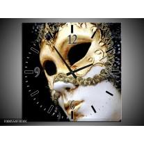 Wandklok op Canvas Masker | Kleur: Wit, Goud, Zwart | F000554C
