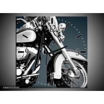 Wandklok op Canvas Motor | Kleur: Zilver, Wit, Zwart | F000555C