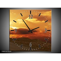 Wandklok op Canvas Zonsondergang | Kleur: Geel, Bruin, Grijs | F000556C