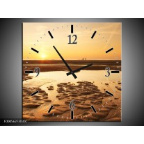 Wandklok op Canvas Strand | Kleur: Bruin, Geel, Goud | F000562C