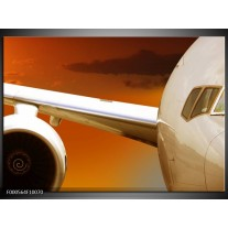Foto canvas schilderij Vliegtuig   Wit, Oranje, Bruin