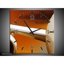 Wandklok op Canvas Vliegtuig   Kleur: Wit, Oranje, Bruin   F000564C