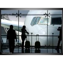 Foto canvas schilderij Vliegtuig | Wit, Zwart, Grijs