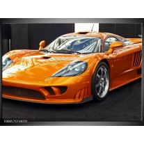Foto canvas schilderij Auto | Oranje, Grijs, Wit