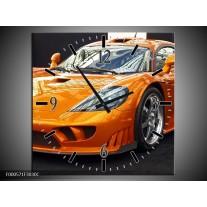 Wandklok op Canvas Auto | Kleur: Oranje, Grijs, Wit | F000571C