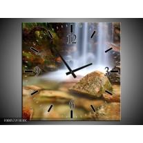 Wandklok op Canvas Waterval   Kleur: Wit, Grijs, Bruin   F000572C