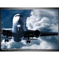 Foto canvas schilderij Vliegtuig   Blauw, Grijs, Wit